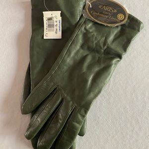 ARIS LODEN GREEN CASHMERE LINED GLOVES